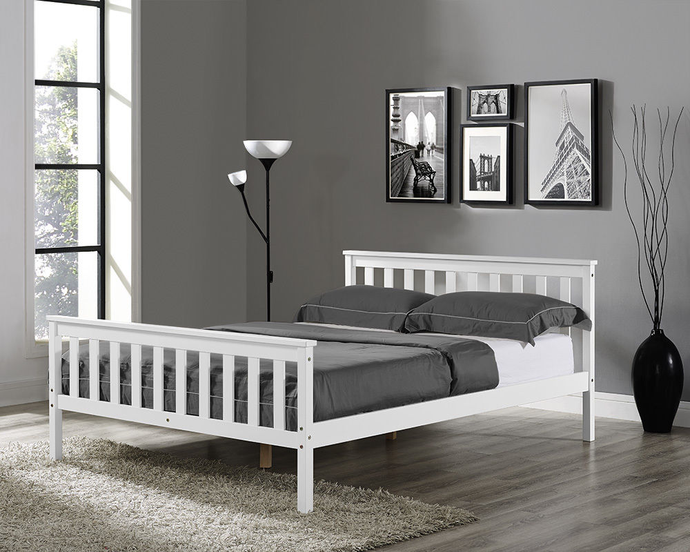 Attractive White Wooden Bed Frame Gift - Picture Frame Ideas ...