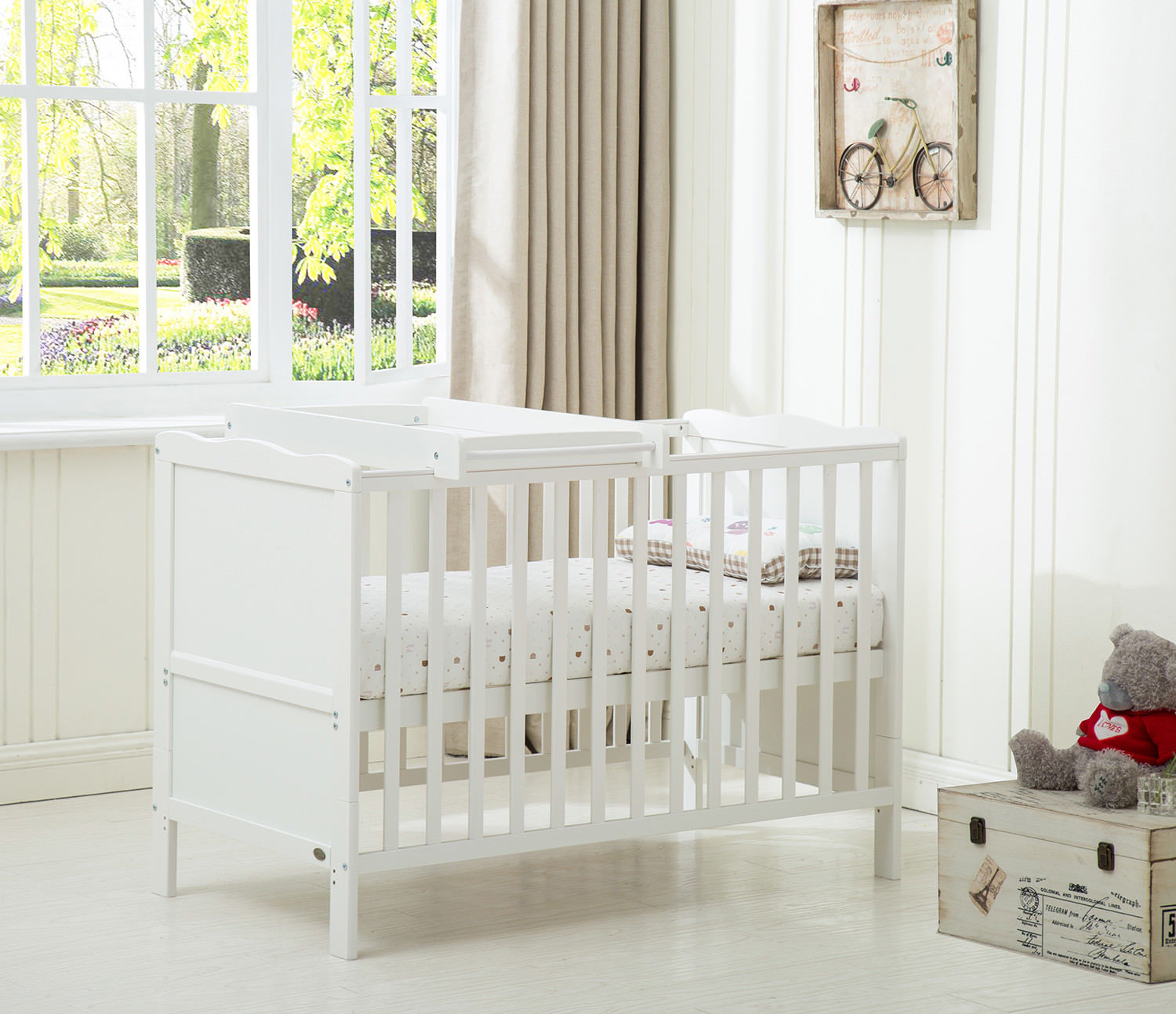 New White Solid Wood Baby Cot Bed With Top Changer And Mattress